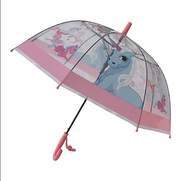 🦄Foxfire Clear Pink Trim Unicorn Whistle Umbrella